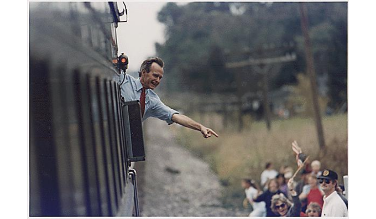 George Bush Waves from Train