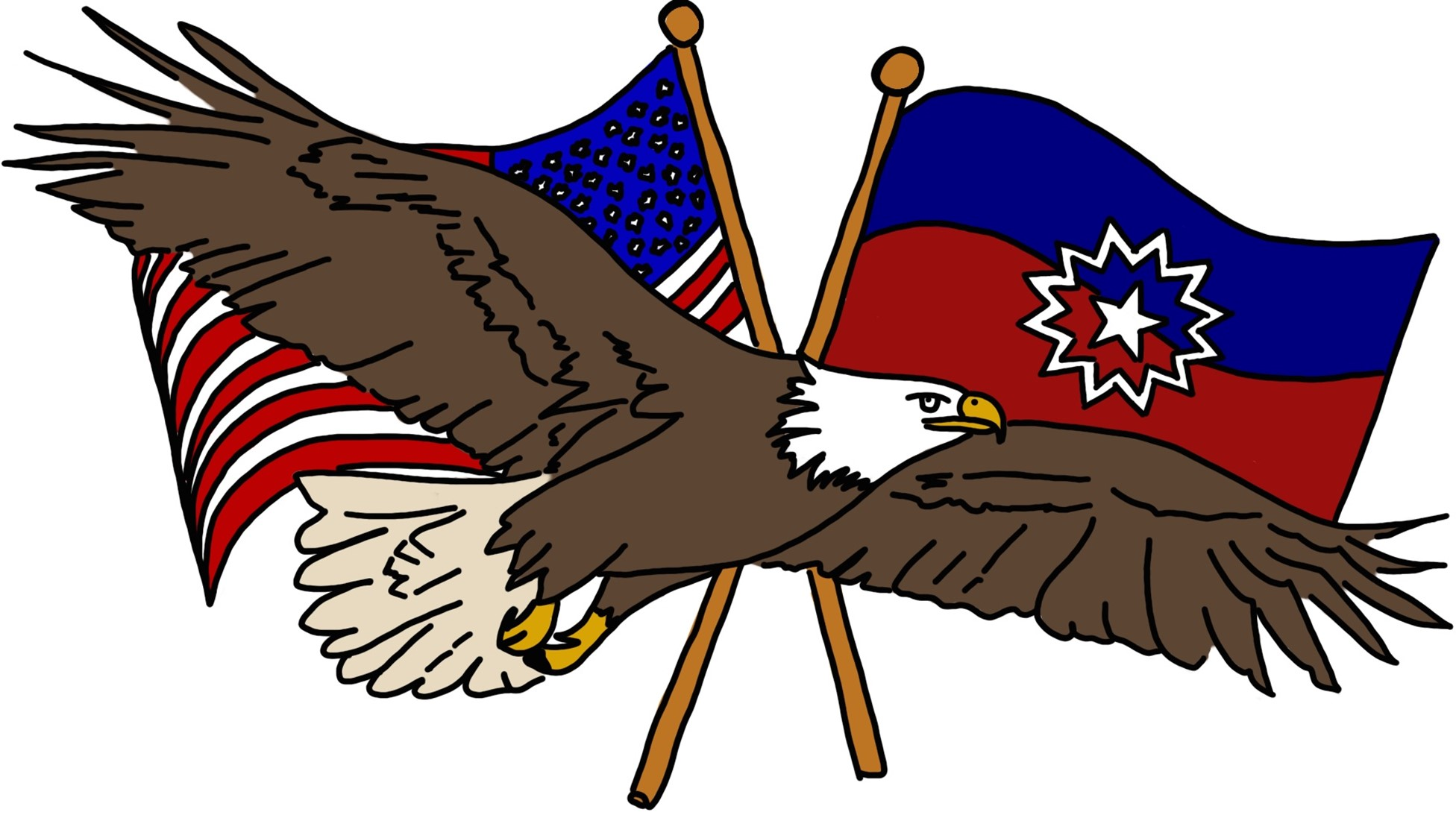 illustrated bald eagle in front of flags